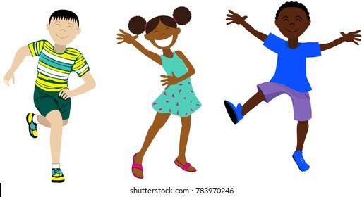 Vector illustration of several happy children.