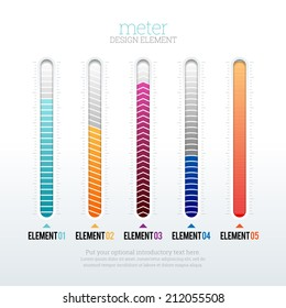Vector illustration of several options of meter design elements.