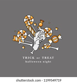 Vector illustration of severed zombie hand holding the candy. Happy Holloween party card with typography