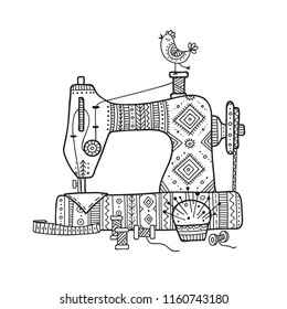 Vector illustration of sewing machine in boho style with ornament.  Can be used as a sticker, icon, logo, design template, coloring page.