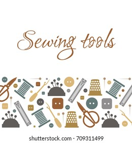 Vector illustration of sewing tools for the atelier. Sewing pattern for signs, icons, templates, banners, blog. Illustration for courses of cutting and sewing. Sewing pattern for the background.