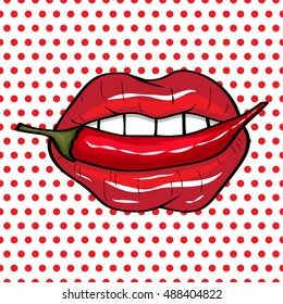 Vector illustration.  Sexy red lips on a polka-dot background in the style of comics. Vector illustration for print. Red hot chili pepper in the mouth in popart style