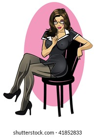 vector illustration of a  sexy secretary sitting on a chair