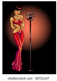 vector illustration of a sexy singer with a vintage microphone...