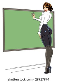 vector illustration of a sexy teacher pinup girl..for more pinups, check my port!!