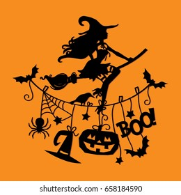 A vector illustration of a sexy witch flying with broomstick over halloween theme clothing line.