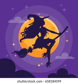 A vector illustration of a sexy witch silhouette over a purple dark halloween night sky.