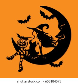 A vector illustration of a sexy witch sitting on a crescent moon with halloween design elements like pumpkin and bats.