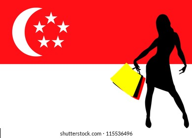 Vector Illustration of a sexy woman silhouette with shopping bags with the flag of Singapore