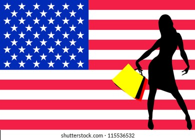 Vector Illustration of a sexy woman silhouette with shopping bags with the flag of United States of America