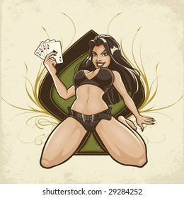 Vector illustration of a sexy young female sitting with her legs spread holding four aces in front of a large spade graphic with elegant flourishes on either side.