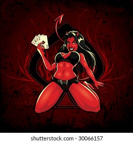 Vector illustration of a sexy young female devil sitting with her legs spread holding four aces in front of a large spade graphic with elegant flourishes on either side.