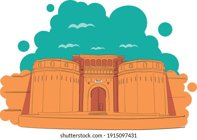Vector Illustration Shaniwarwada also known as Shanwarwada is a historical fortification in the city of Pune in Maharashtra, India.