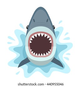 Vector Illustration Of Shark With Open Mouth Full Sharp Teeth Isolated On A White