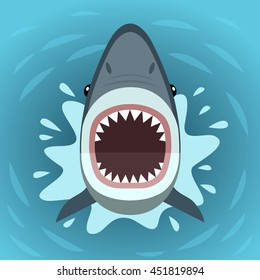 Vector illustration of shark with open mouth full of sharp teeth, isolated on a sea background. Shark attacks from the water.