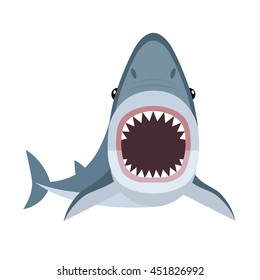 Vector illustration of shark with open mouth full of sharp teeth, isolated on a white background. Shark attacks.
