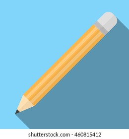 Vector illustration of sharpened detailed pencil isolated on blue background. Pencil yellow equipment draw office tool. Education icon symbol simple pen wood work pencil tool. Yellow pencil.