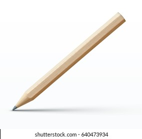 Vector illustration of sharpened detailed wooden pencil isolated on white background
