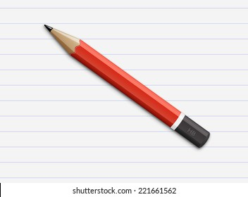Vector illustration of sharpened fat red pencil with paper page