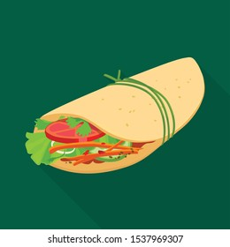 Vector illustration of shawarma and food logo. Graphic of shawarma and ham stock symbol for web.