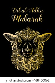 Vector illustration of sheep with Arabic Islamic text Eid-Al-Adha on black background