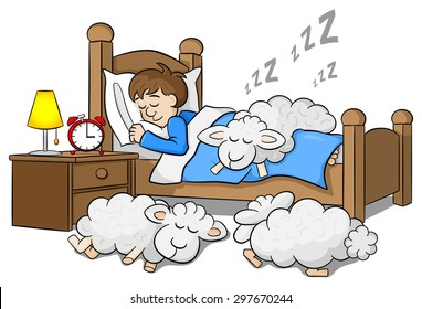 vector illustration of sheep fall asleep on the bed of a sleeping man