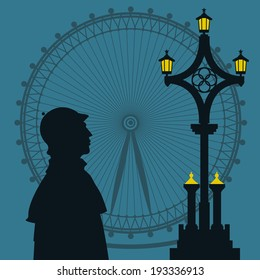 Vector illustration with Sherlock Holmes silhouette
