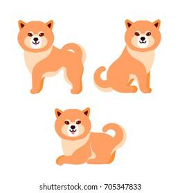 Vector illustration of shiba inu dog isolated on white background