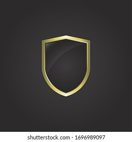 Vector illustration of shield with dots texture and golden frame. Premium and luxury emblem very usable for logo frame.