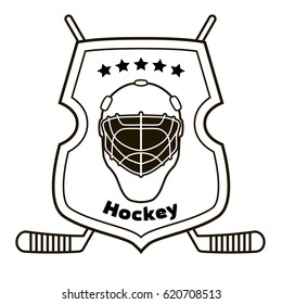 Vector illustration - Shield, hockey mask and hockey sticks. Can be used for prints on T-shirts, posters, stickers, logos, etc.