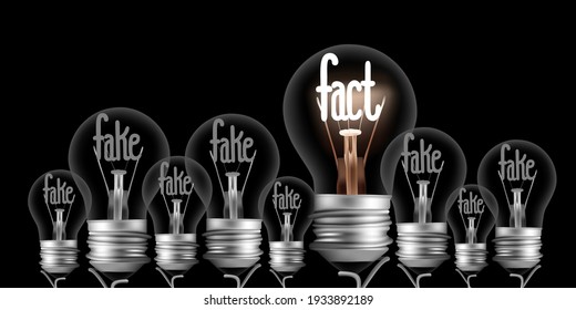 Vector illustration of shining and dimmed light bulbs with fibers in a shape of Fake and Fact concept words isolated on black background.