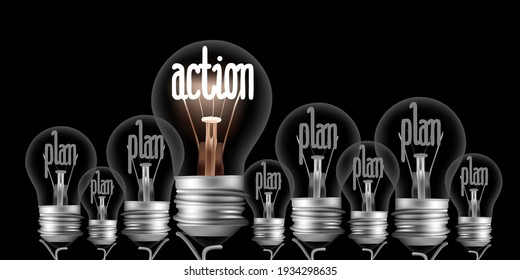 Vector illustration of shining and dimmed light bulbs with fibers in a shape of Action and Plan words on black background.