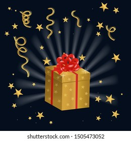 Vector illustration of shining golg gifts box on festive dark blue background with serpentine and confetti