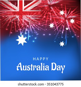 Vector Illustration of shiny background with flag for Australia Day.