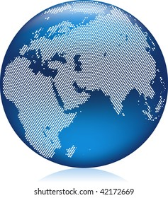 Vector illustration of shiny blue Earth globe with round dots, Asia, Europe and Africa