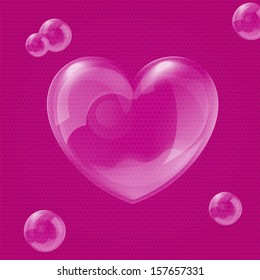 Vector illustration of shiny bubble heart - original Valentine's day card