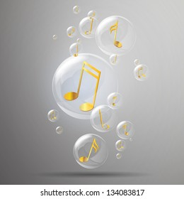 Vector Illustration of Shiny Bubbles and Golden Music Notes in it