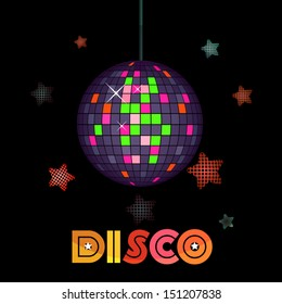 Vector illustration of a shiny disco ball on dark background with stars