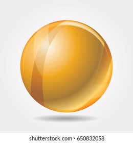 vector illustration of the shiny golden ball with shadow