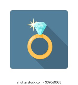 A vector illustration of a shiny jeweled ring. Diamond Ring icon illustration. Expensive rich jewelery concept.