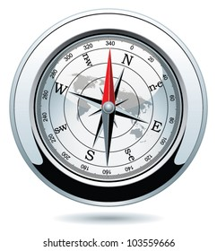 vector illustration of shiny silver compass