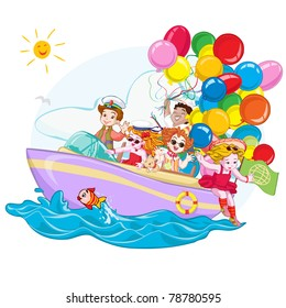 Vector illustration, ship full with happy kids, card concept.