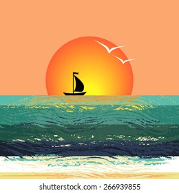 Vector illustration of the ship silhouette on the horizon against the setting sun. Stylized sunset seascape with the sailboat floating on the waves.