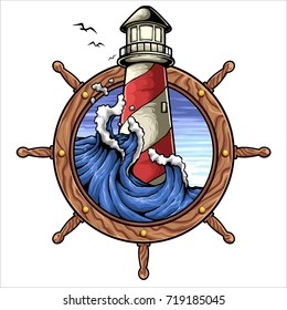 Vector illustration of ship wheel lighthouse wave and sky