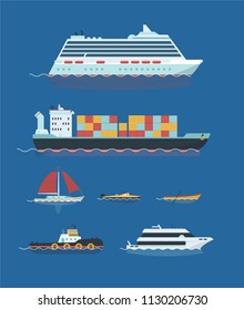 Vector illustration ships set. Cruise ship, bulk carrier, yacht, tractor, skiff and boat.