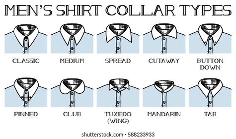 Vector illustration of a shirt collars types: classic, medium, spread, cutaway, button down, pinned, club, tuxedo, mandarin, tab. Vintage drawing style.