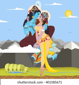 Vector illustration Shiva and Shakti. Universal love, consciousness and energy.
