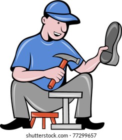 vector illustration of a shoemaker , cobbler shoe repair working on isolated background done in cartoon style.