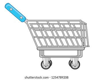 Vector illustration of the shop pushcart on wheel for goods