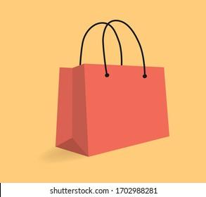Vector illustration. Shopping bag design icon. Shop concept.